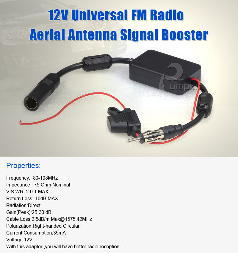Universal 12V car radio antenna amplifier FM signal amplifier adapter