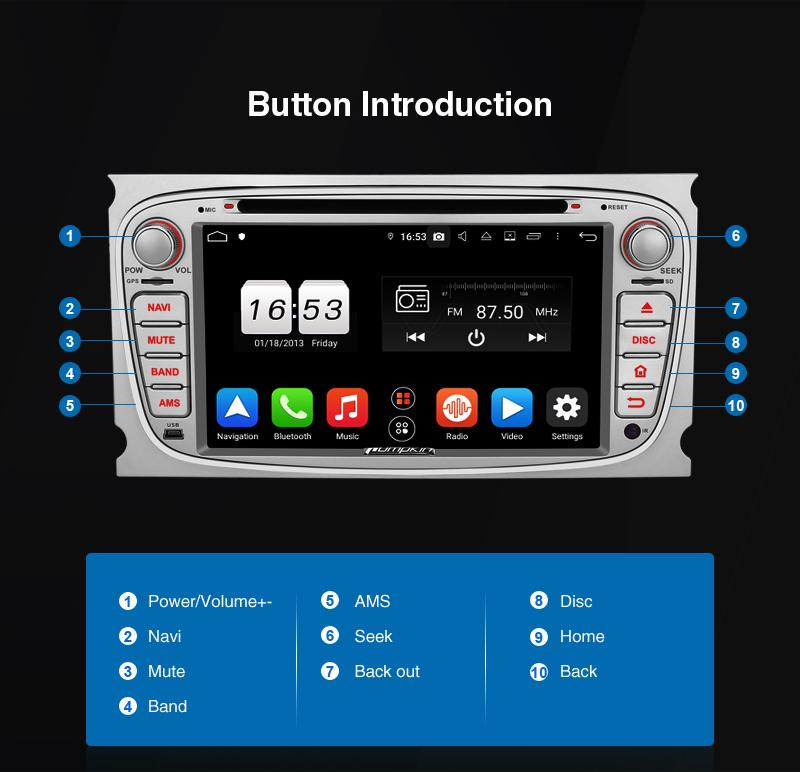 Ford Focus MK2 Momdeo MK4 Head Unit with Reverse Camera, support Android Auto CarPlay DAB+