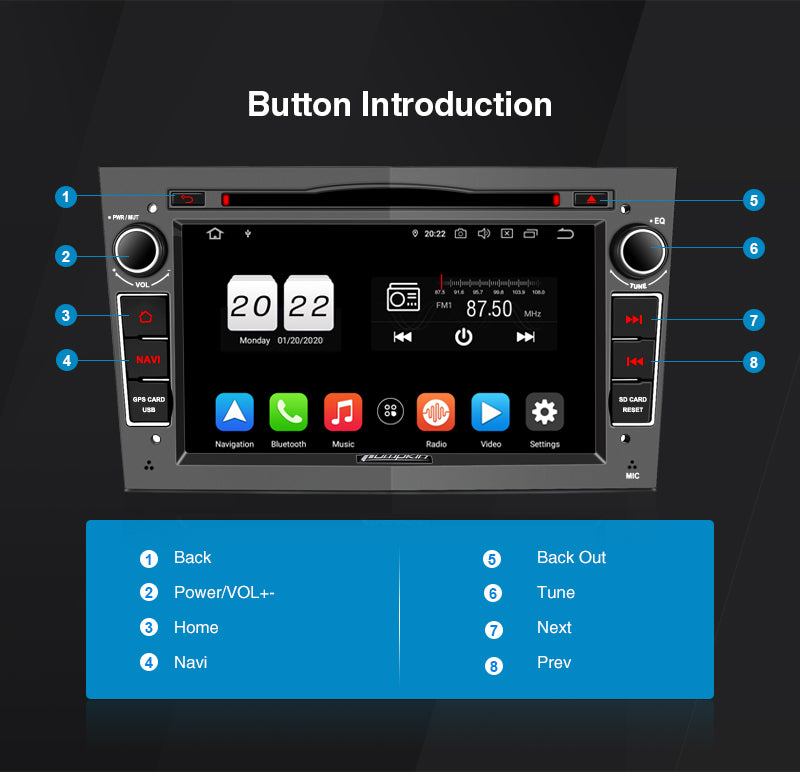 Pumpkin Opel Vauxhall Stereo 7 Inch Android 10 Head Unit with CD Player for Zafira/ Corsa D/ Astra H/ Vivaro A