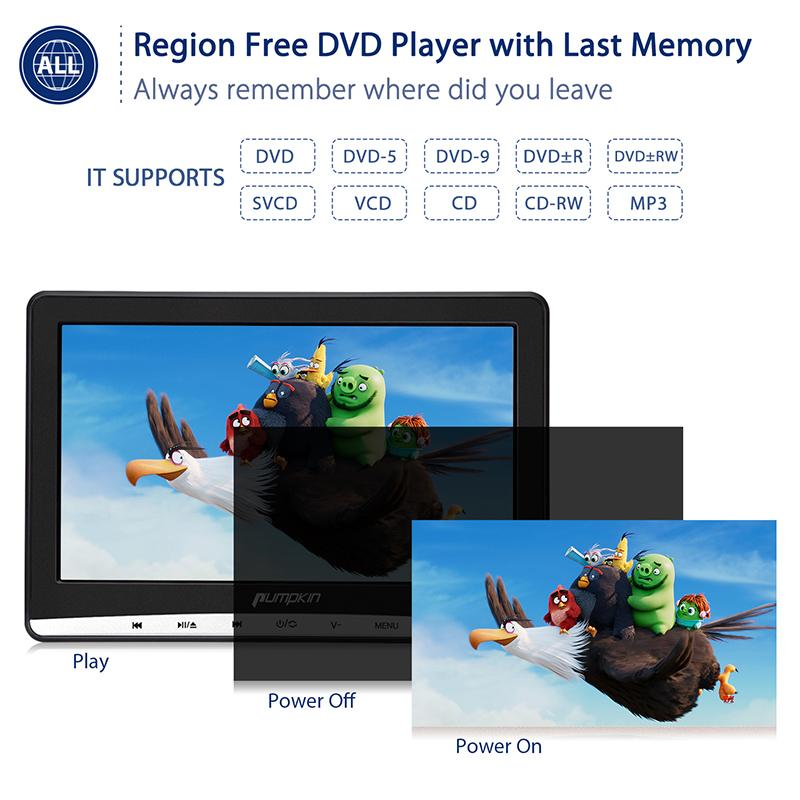 12 Inched IPS Screen Headrest DVD Player with headphones, touch button, customized headrest mount holder