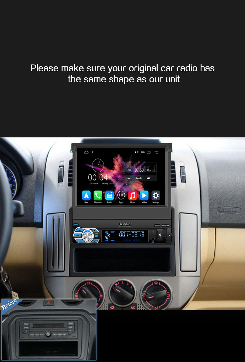Pumpkin Android 10 Car Head Unit with Reverse Camera and Flip-out Screen (7 Inch 1 Din)