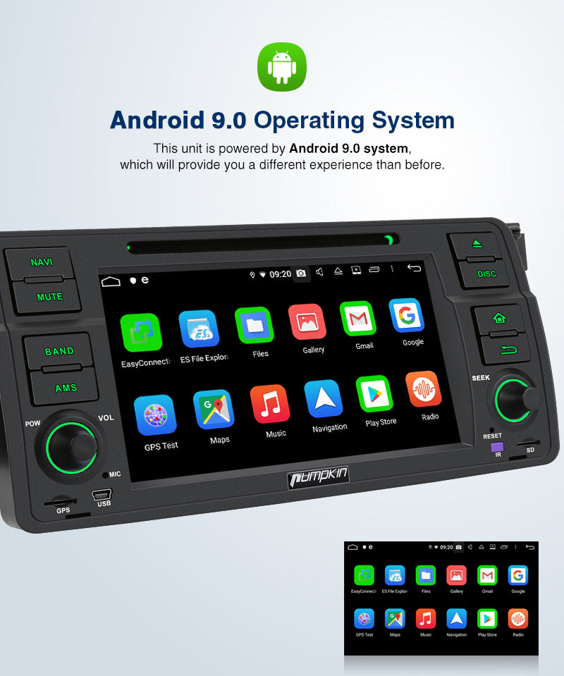 "Pumpkin 7"" Android 9.0 Head Unit In Dash Navigation for BMW E46 M3 2002 2003 2004 2005 2006 with Backup Camera Support Carplay/Android Auto/WiFi/Fast Boot/DAB+"