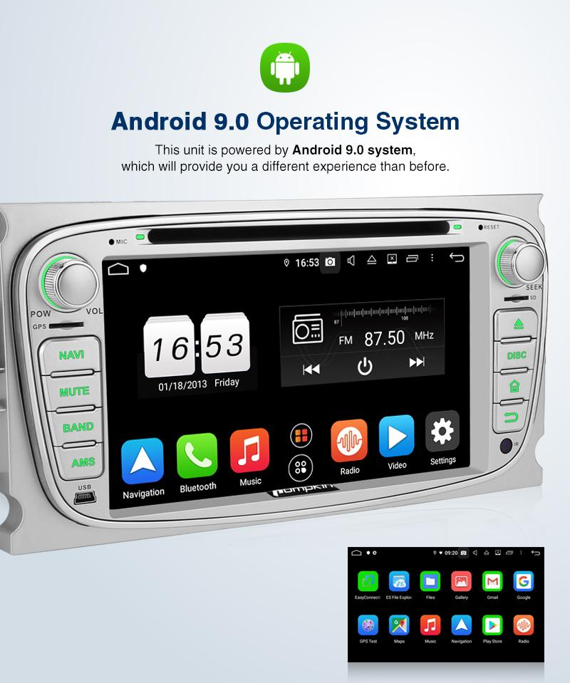 "Pumpkin 2 Din 7"" Android 9.0 Head Unit for Ford Focus MK2 Momdeo MK4 with Backup Camera"