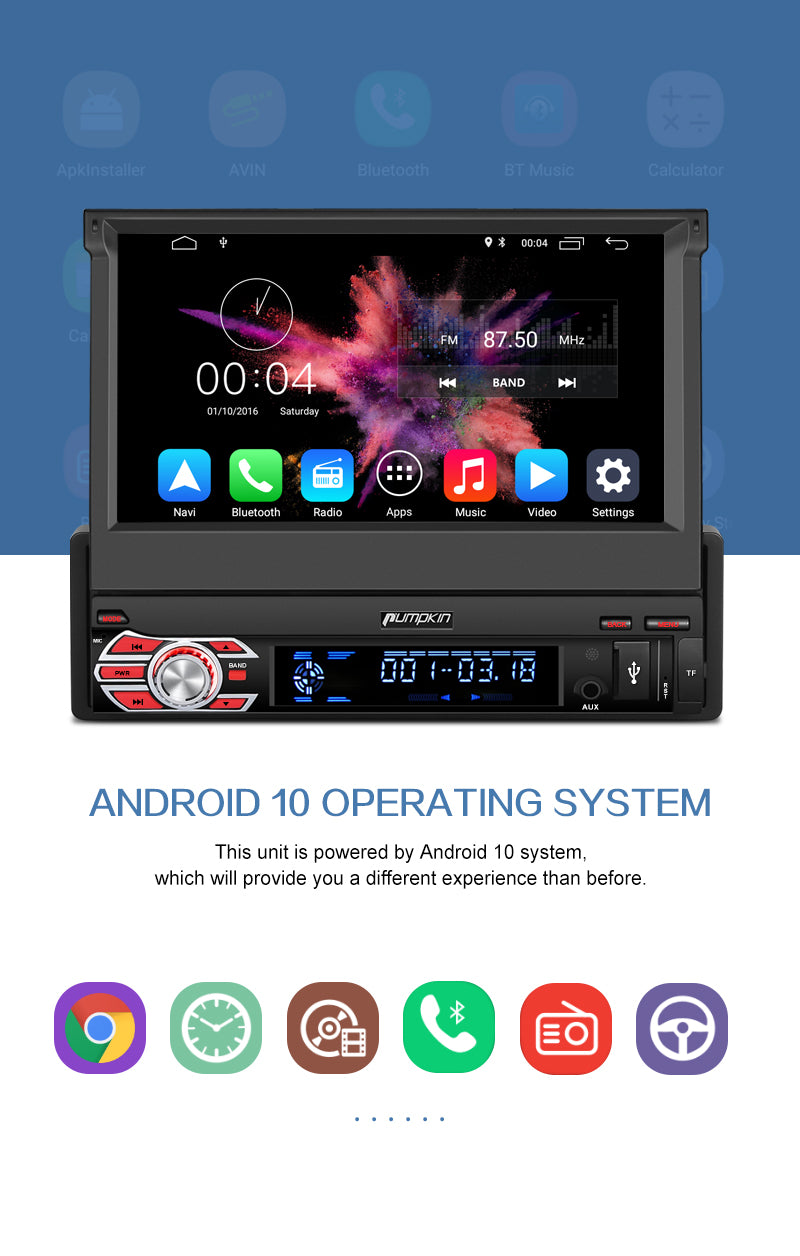 "Pumpkin Android10 OS 1 DIN 7"" Head Unit with DAB Radio Flip-out  Screen ( Android Auto Apple CarPlay compatible)"