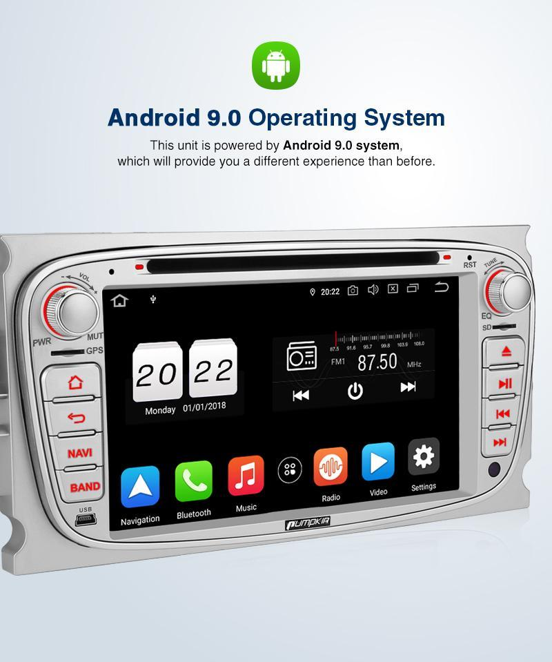 Pumpkin 7 Inch Double Din Radio, Android 9.0 Car Stereo for Ford Focus/Mondeo with Touch Screen, GPS Navigation, Bluetooth