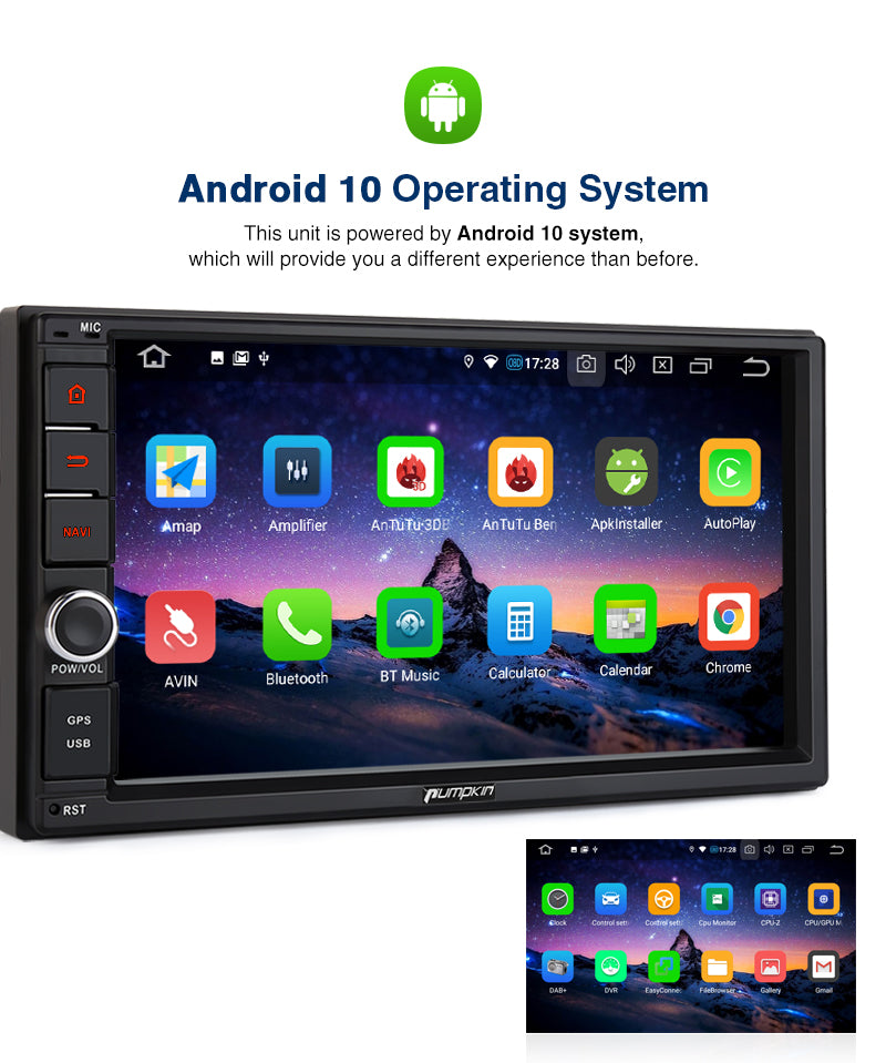 Pumpkin Double Din Touch Screen Octa-Core Android 10 Head Unit with Sat Nav Bluetooth, Support DAB Camera AV-OUT