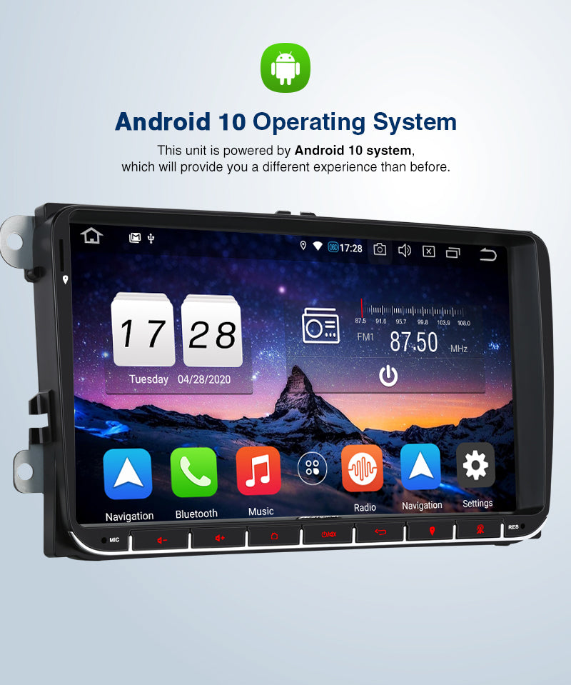 "Pumpkin 9"" VW Head Unit Android 10 Infotainment System for VW, Seat, Skoda Support DAB+ Carplay OBD2 Backup Camera"