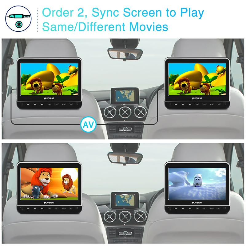 Pumpkin 10.1 Inch Clamshell Headrest Monitor Car DVD Player with TFT LCD Screen, HDMI Input, Remote Control and Headphones
