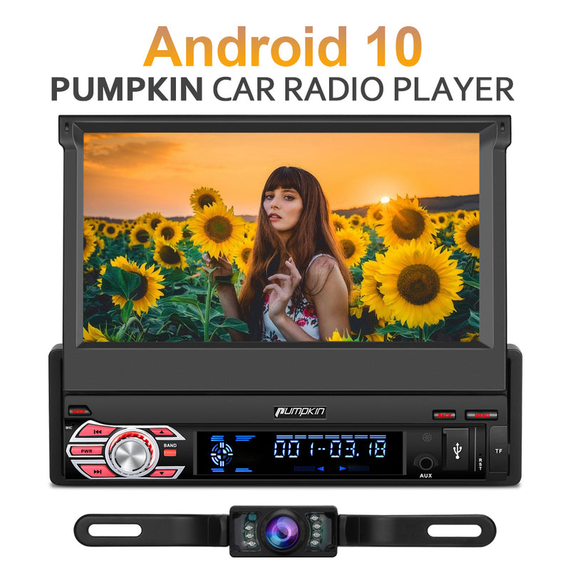 Pumpkin 7 Inch Android 10 Single Din Touch Screen Head Unit with Backup Camera, Support DAB WIFI USB SWC Carplay