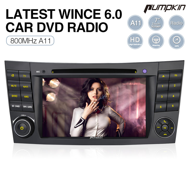 "Pumpkin WinCE 6.0 Double Din 7"" LCD Touchscreen Car Stereo for Mercedes Benz  E Class W211/W219 Radio Replacement"