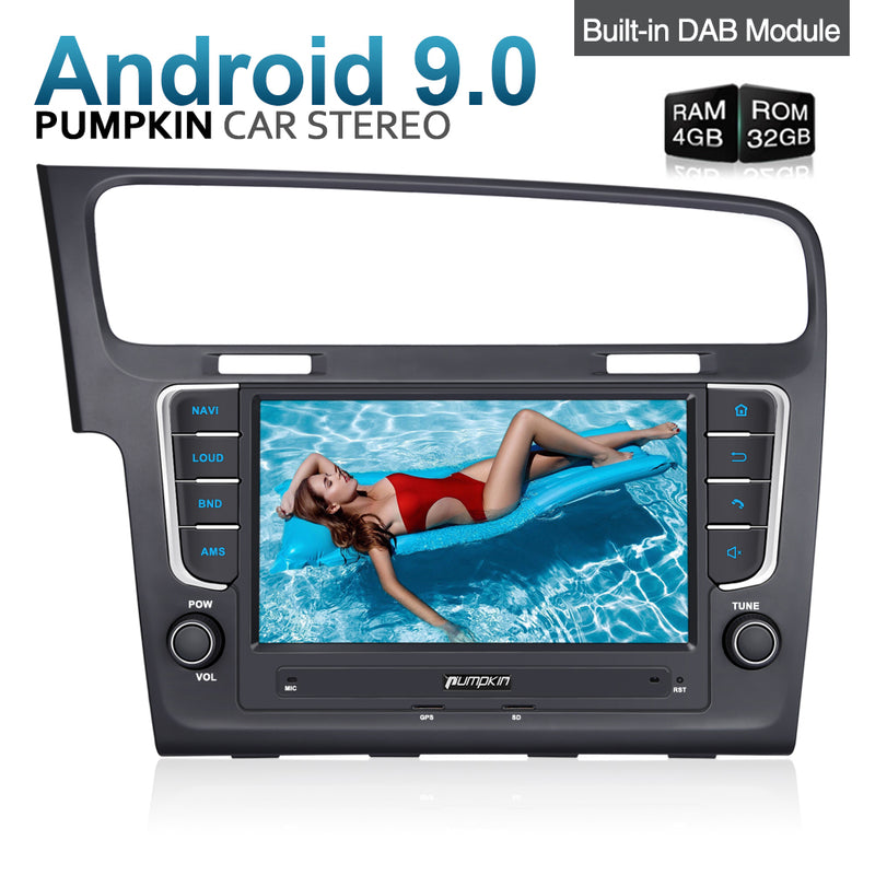 "Pumpkin Golf 7 Android Radio 8"" Octa-Core with Touchscreen Sat Nav Bluetooth Built-in DAB"