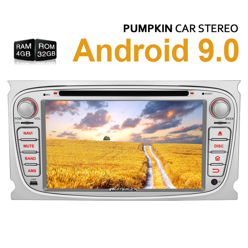 "Ford Head Unit Double Din 7"" Android 9.0 for Ford Focus MK2 Ford Mondeo MK4 Radio Replacement"
