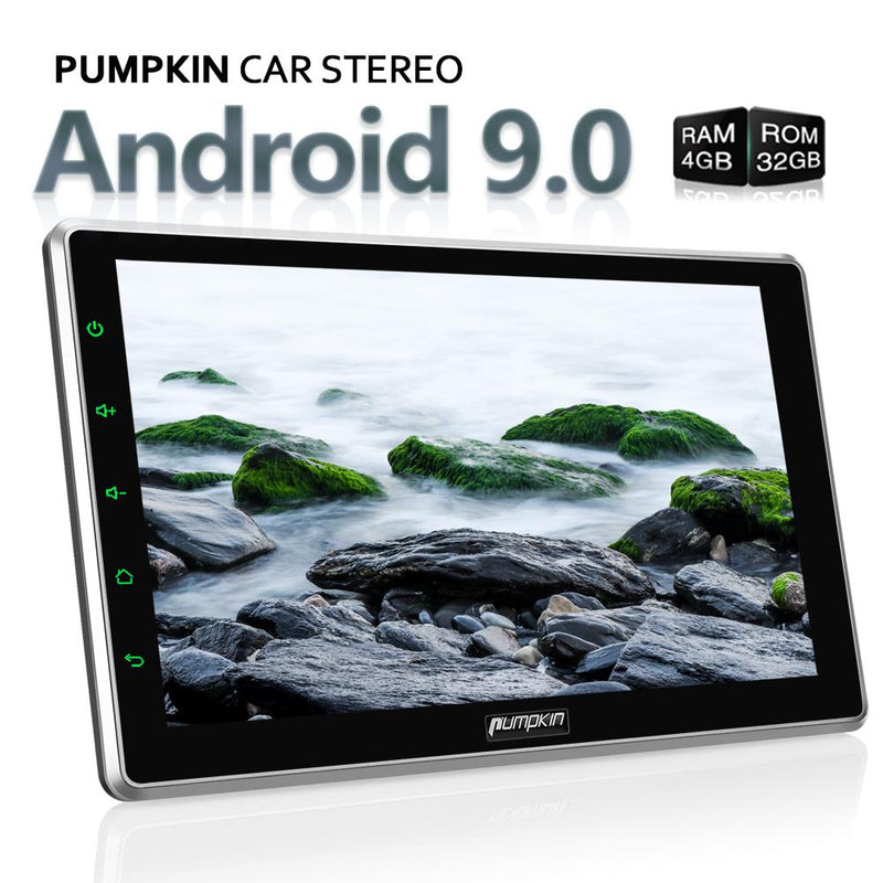 Pumpkin 10.1 inch Android 9.0 Double Din Car Stereo with Rotating Screen GPS Navigation Radio Bluetooth, Support Android Auto CarPlay DAB+ (Universal type)