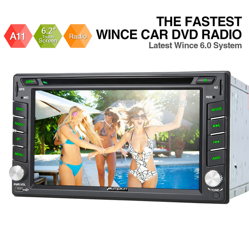 "Pumpkin 2 DIN 6.2"" Touch Screen Nissan Car Stereo DVD Player Support GPS Navigation Bluetooth USB SD"