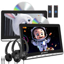 Pumpkin Dual Headrest DVD Player 10.1 Inch Ultra-thin HD Display for Kids with Wired Headphones