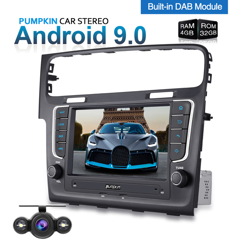Pumpkin VW Head Unit Android 9.0 Double Din 8'' Sat Nav Car Stereo for Golf 7 with Backup Camera Built-in DAB, Support Android Auto WIFI USB SD