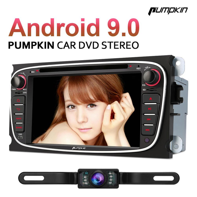 PUMPKIN 7 Inch Double Din Android 9.0 Car Stereo with Reverse Camera GPS Bluetooth DVD Player for Ford/Focus/Mondeo