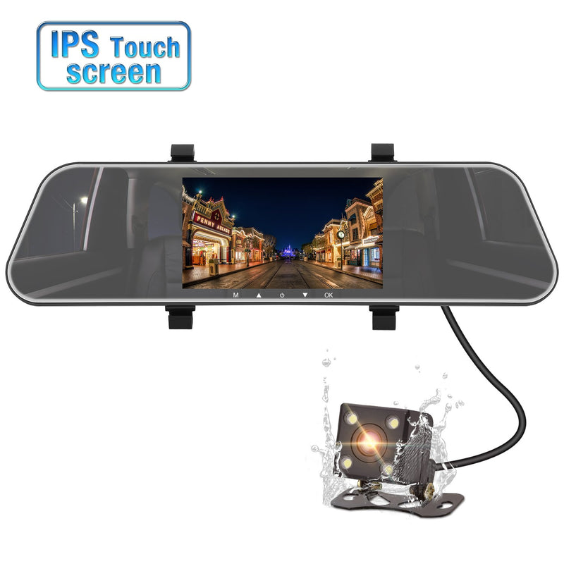 "IP68 Mirror Dash Cam Front and Rear 1080P+ 720P, 5"" IPS Touch Screen Dual Camera with Superior Night Vision, Motion Sensor, Rear View Camera, G-Sensor, Parking Monitor"