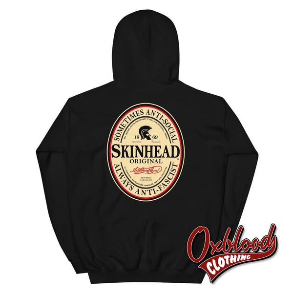 Irish Stout Skinhead: Sometimes Anti-Social Always Anti-Facist Hoodie Black / S
