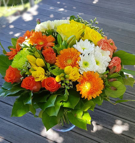 Bouquet Rond orange, jaune