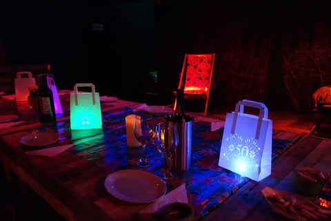 lantern light bags - 50th birthday party table centrepiece