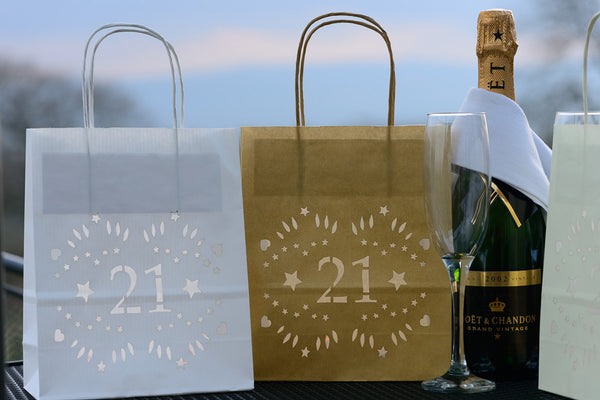 21st Birthday decorations, lantern bags make great table centrepieces