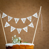 Personalised fabric wedding cake topper - Mr and Mrs bunting