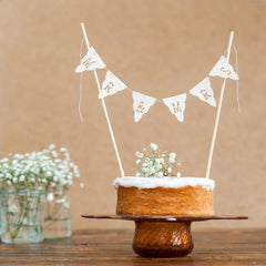 Mr & Mr Wedding cake bunting topper - real fabric