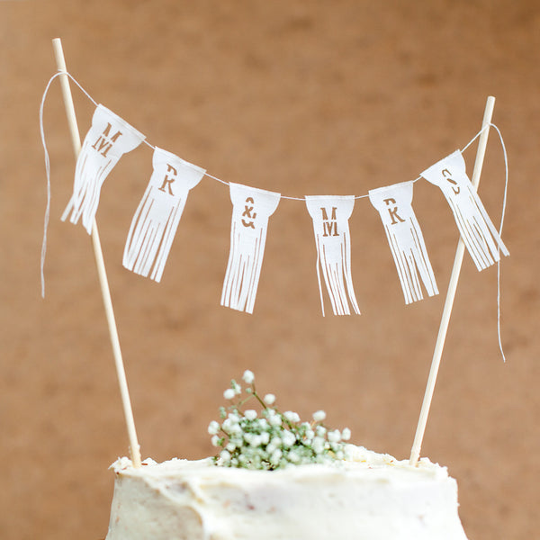 Mr and Mrs Wedding Cake Bunting Topper - fringed garland