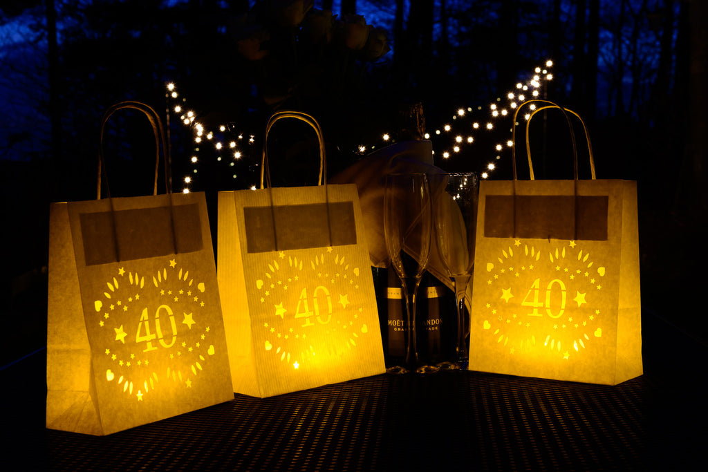 40th Birthday Decorations Lumiere Bags