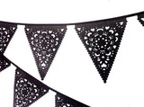 Halloween bunting in black lace