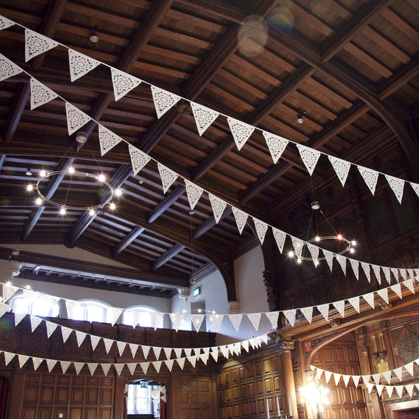 wedding bunting in ivory