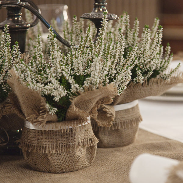 Burlap plant wraps - rustic wedding table