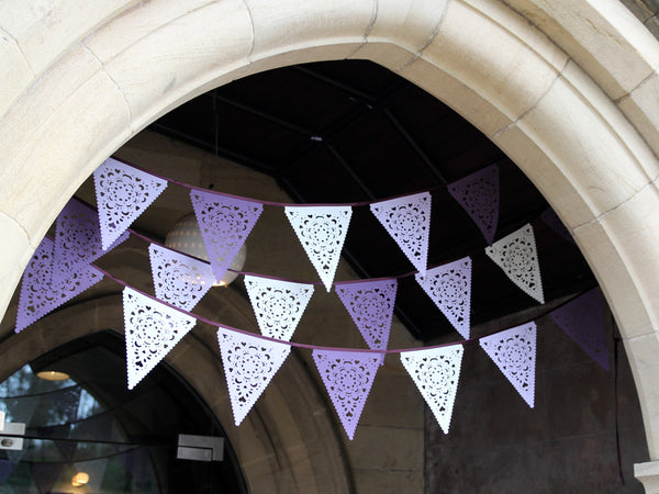 Purple, Lilac and Ivory Bunting, perfect for a wedding!