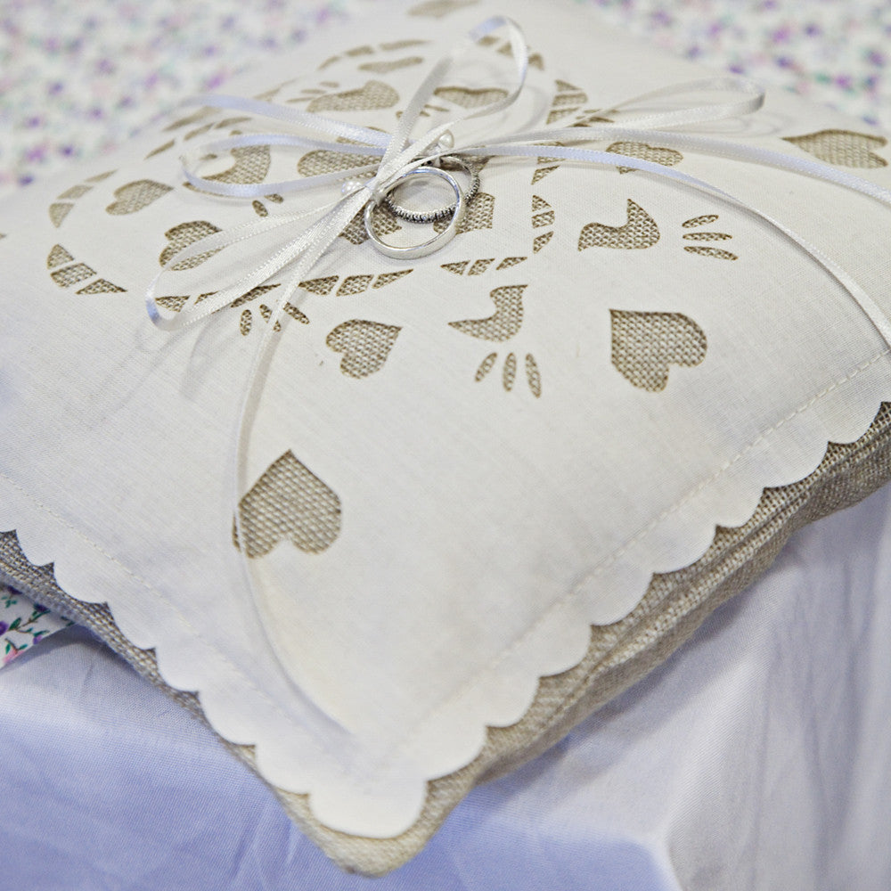 Love birds linen and laser cut ring bearer wedding pillow Baloolah