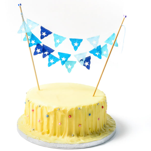 Blues Birthday Cake Mini Bunting Topper