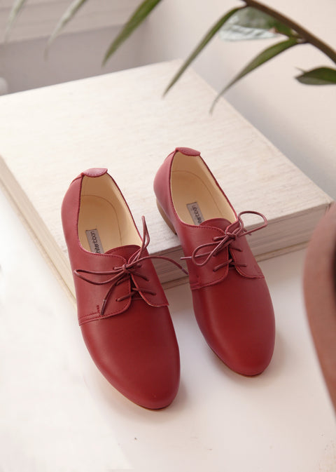 Berry Red Leather Oxford Shoes