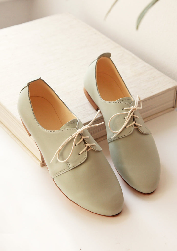 Mint derby leather oxford shoes, top view