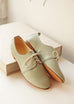 top and side show of light mint pastel smooth leather derby shoes