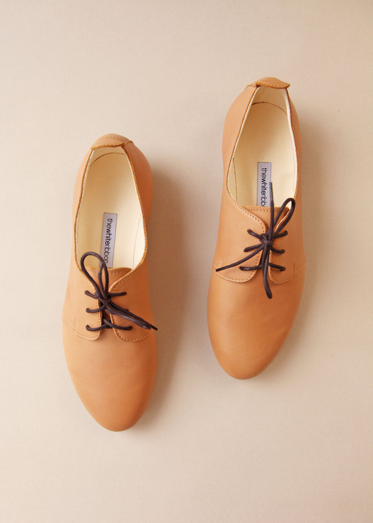 Latte Leather Oxford Shoes