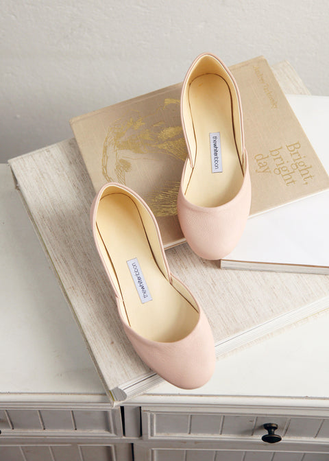 nude leather ballet flats by thewhiteribbon