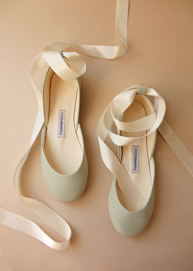 Pastel Mint Flats with Satin Ribbons