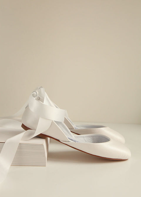 Pearl ivory bridal leather ballet flats with satin ribbons