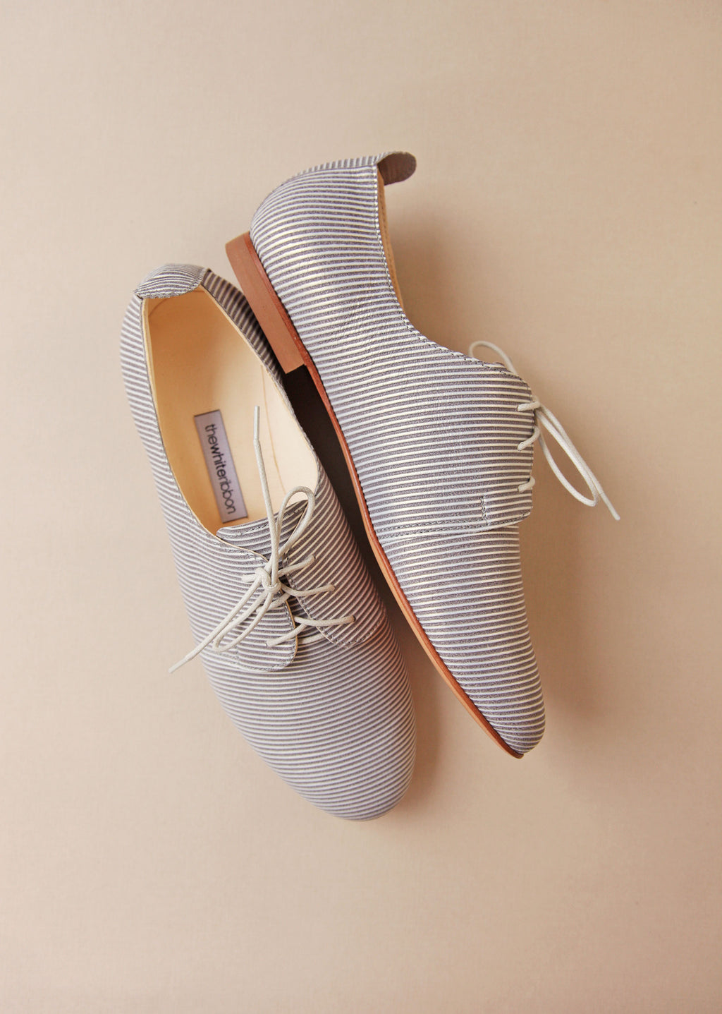Stripy Blue Leather Oxford Shoes