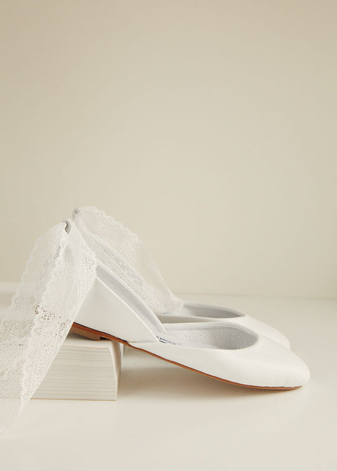 Bridal ballet flats with lace up ribbons