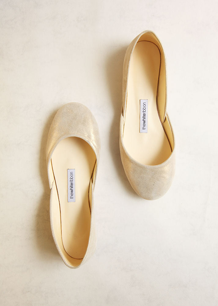 fa8afa9af4dc The Bridal Ballet Flats in White Gold – thewhiteribbon