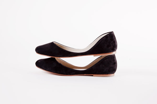 Black Minimalist Ballet Flats Side View