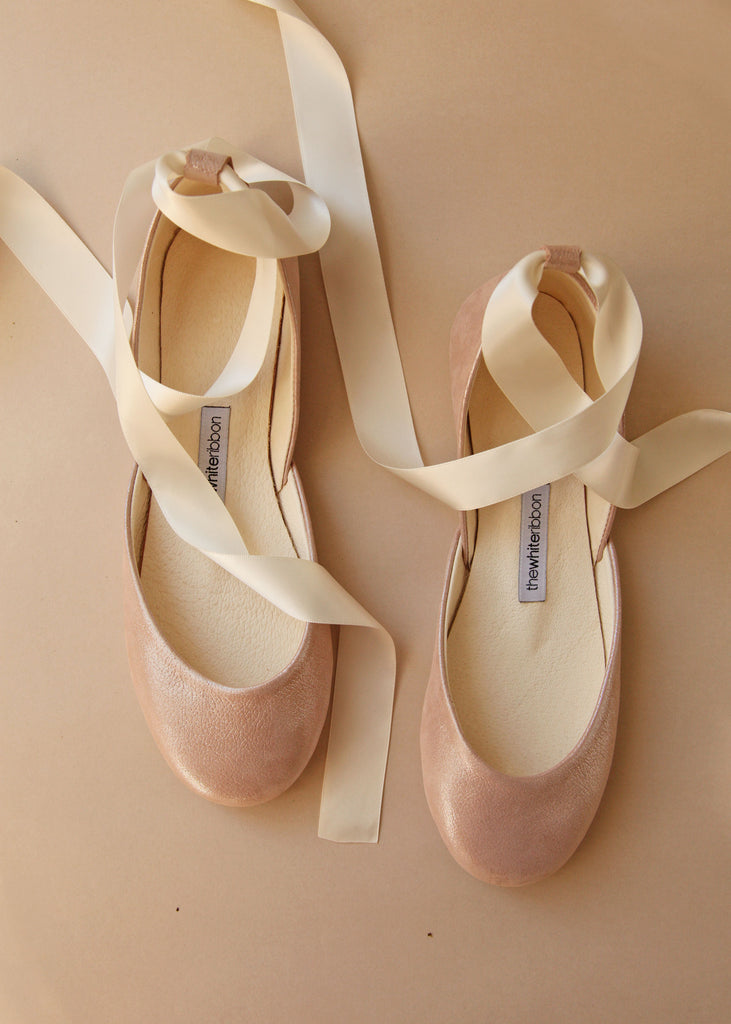 Light Rose Flats with Satin Ribbons