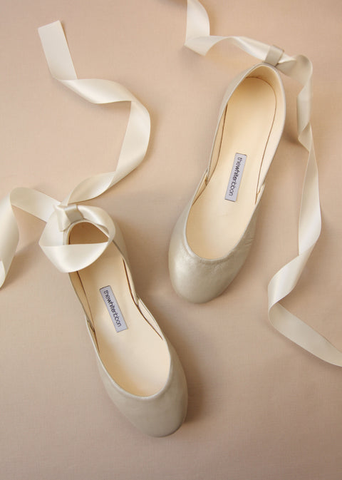 Champagne Flats with Satin Ribbons
