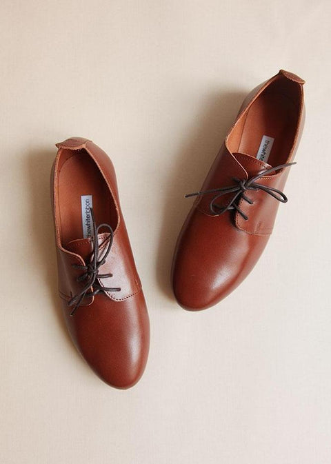 chocolate brown smooth leather oxfords from top